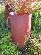 Corten rusted steel plant pot garden art Christchurch