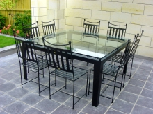 Metalcraft Engineering high end outdoor table and chairs glass top solid frame