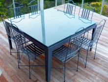 Metalcraft Engineering Glass top metal frame feature outdoor furniture Christchurch