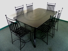 Outdoor garden dining table and chairs Metalcraft Engineering Christchurch Locally made
